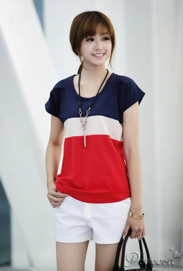 EntregaInmediata: Blusa manga corta franjas azul/blanco rojo: http://porpcr.com/1K0TlNf