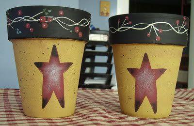 Primitive Country Stars Clay Pots. $12.99, via Etsy.