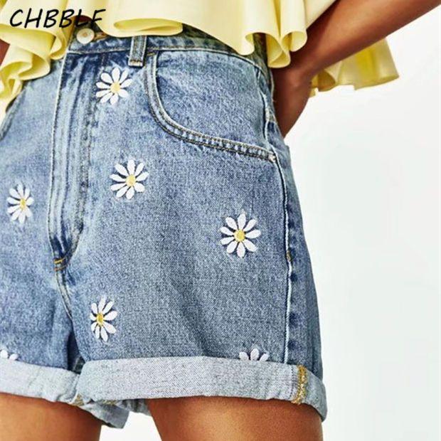Spring Summer New Daisy Embroidery Bermuda Shorts Women