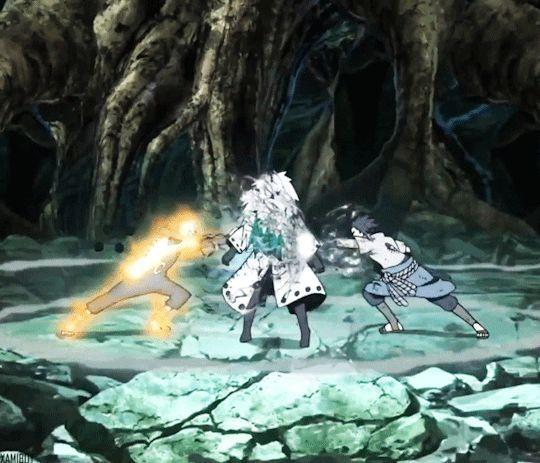 Naruto and Sasuke vs Madara #gif