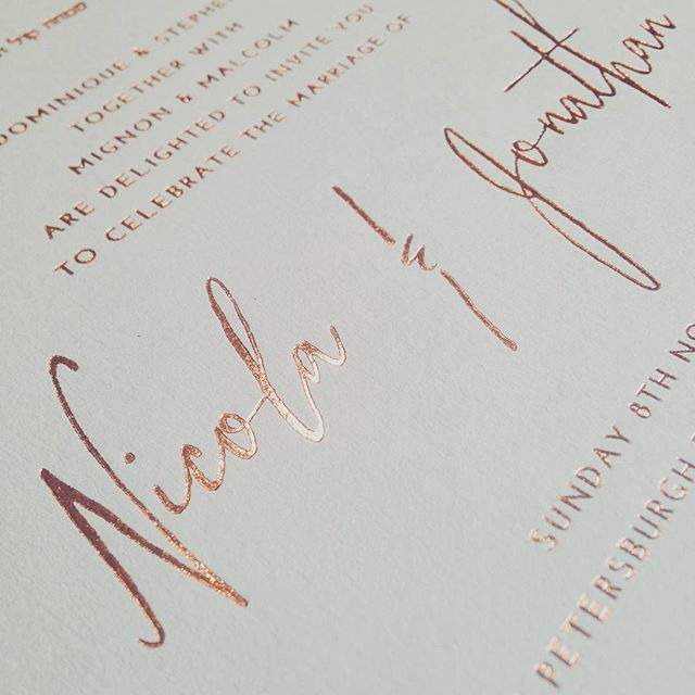 beautiful copper hot foiled grey invitations for an awesome London wedding…