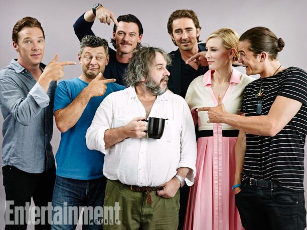 Benedict Cumberbatch, Andy Serkis, Luke Evans, Peter Jackson, Lee Pace, Cate Blanchett, Orlando Bloom, The Hobbit: The Battle of the Five Armies. See more stunning star portraits from our photo studio at San Diego Comic-Con 2014 here: http://www.ew.com/ew/gallery/0,,20399642_20837151,00.html