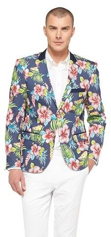 $89, Navy Floral Blazer: WD.NY Wdny Black Hawaiian Floral Blazer Wdny Black. Sold by Target. Click for more info: https://lookastic.com/men/shop_items/277824/redirect
