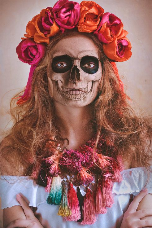 Galore - hot pink and orange floral crown/murMur. €40.00, via Etsy. // although this is photoshopped, looks amazing.