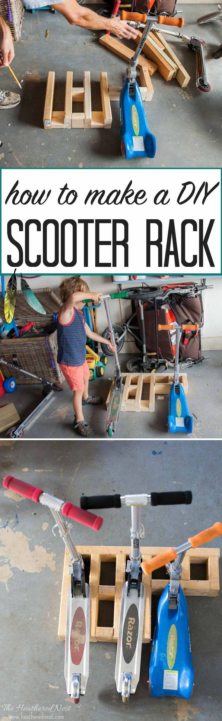 how to build an easy DIY scooter stand to store and organize the kids ride-on toys! via @heathernest
