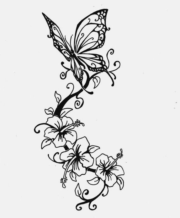 Hibiscus Tattoo With A Combination Of Black And White Looks So