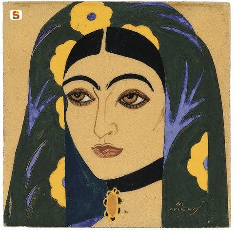 Sardegna DigitalLibrary - Immagini - Mattonella decorativa: Donna di Oliena, Melkiorre Melis 1925