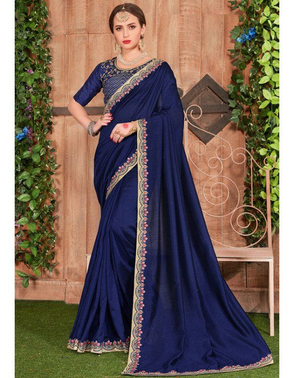 a21821044b Royal Blue Dyed Saree with Embroidered Border in 2019   Party Wear ...