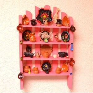 Miniature Wooden Mexican Hutch - Pink