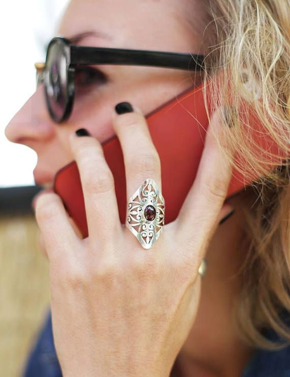 Ring boho style with stone ring with garnet ring with stone