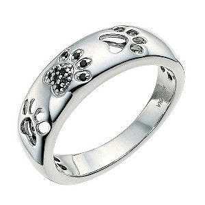 Sterling silver treated black diamond paw print ring - Product number 9763112