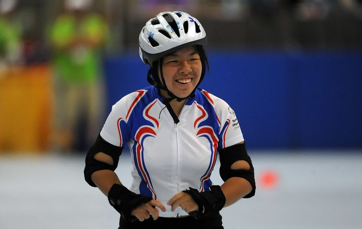 . Shou-Hsuan Tsai of Chinese Taipei smiles as she competes in the Roller Skating event during Special Olympics World games at the Los Angeles Convention Center in Los Angeles, Calif., Tuesday, July 28, 2015.  (Photo by Keith Birmingham/ Pasadena Star-News)