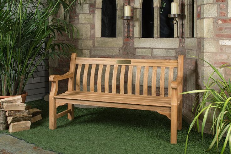 6ft Solid Teak Broadfields Garden Bench - FSC Teak Hardwood Bench with Free Plaque Link: http://www.hayesgardenworld.co.uk/product/6ft-solid-teak-broadfields-garden-bench-fsc-teak-hardwood-bench-free-plaque