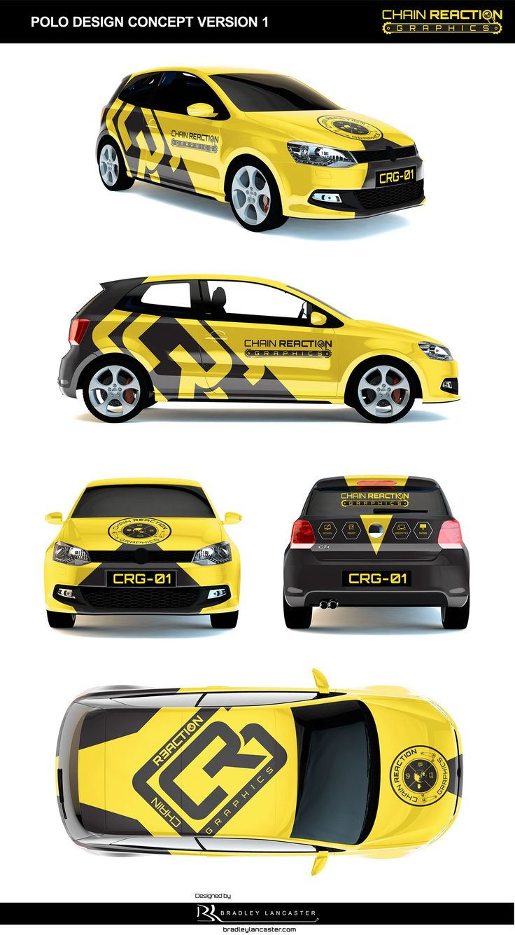 Chain Reaction Graphics on Behance #VehicleWrap #Design #Signage #Car #Wrap #Vinyl #Stickers #SmallCar #twodoor #hatchback #Black&Yellow #Branding #Polo #behance #bradleylancaster bradleylancaster bradleylancaster.com