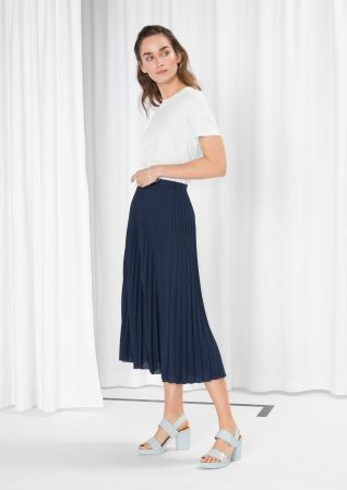 & Other Stories image 2 of Pleated Midi Skirt in Navy