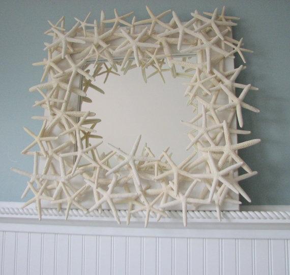 Starfish Mirror -  Beach Decor Shell Mirror - Starfish Seashell Mirrors w White Starfish. $295.00, via Etsy.