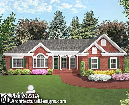 ranch style house long low roof single story house large windows