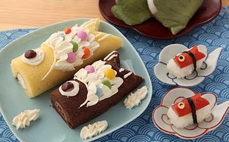 Japanese cake roll ロールケーキで鯉のぼり (Roll cake fish edition)