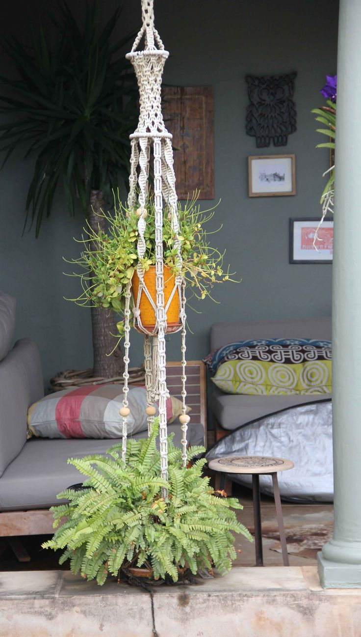Beautiful feature Macramé, outdoor with all the cushions. sigh.
