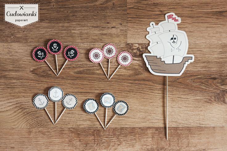 Happy Birthday! Cupcake and cake toppers - perfect birthday decorations for every little pirate.  | Pirackie dekoracje urodzinowe by Cudowianki.