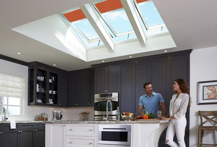 "VELUX ""Fresh Air"" skylights not only refresh stale kitchen air, they also add an incomparable element of design."