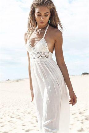 Weiß V-Ausschnitt Rückenfrei Sexy Damen Maxikleid Strandkleid Spitzenkleid Sommer lang Kleider günstig