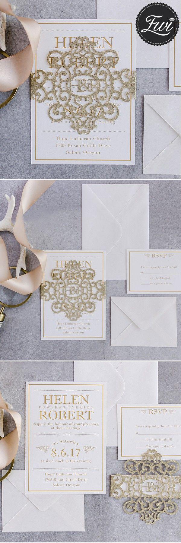 reception information on back of wedding invitation%0A modern gold glitter monogram laser cut belly band wedding invitations  EWBLG