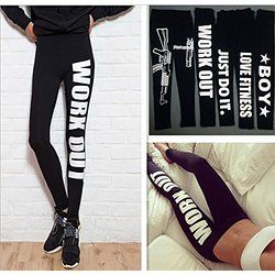 XMY Women Capri YOGA Running Sport Pants Esecuzione Pantaloni Sport Low-Waisted Slim Leggings Fitness Trouser One Size fits All Just Do it COLOR NEW