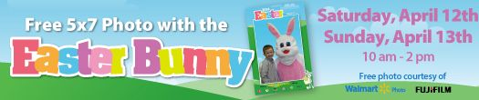 Walmart – Free 5×7 Photo with the Easter Bunny. Run don't walk the offer is only valid April 12th & 13th from 10am-2pm. Make it happen for your kids!