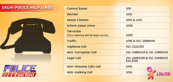 Delhi Police Helplines. Share and spread the information!