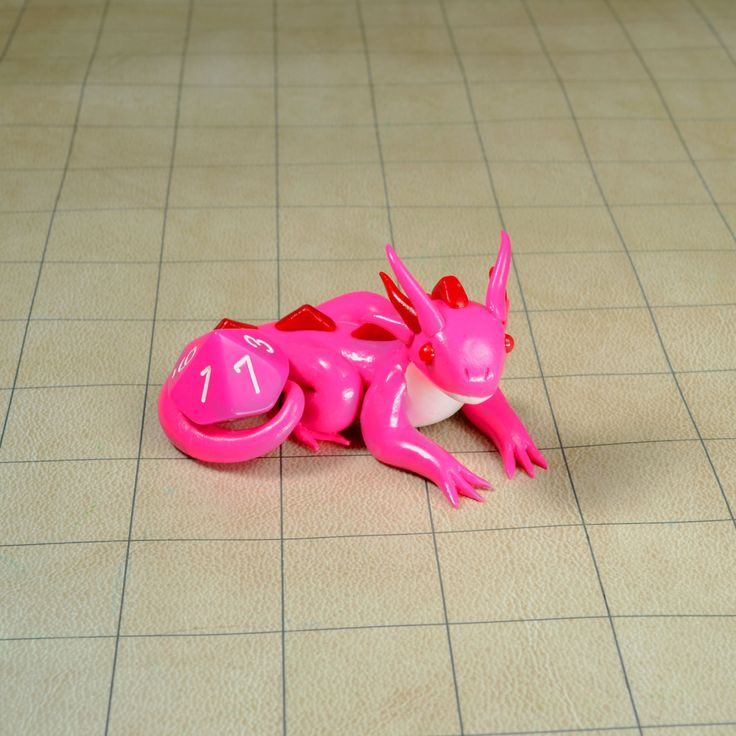 Pink and Red Dragon Dice Holder, D10 Dice Holder, Polymer Clay Dragon Figure by ClayInMyHands on Etsy #polymerclay #sculpey #dragondiceholder