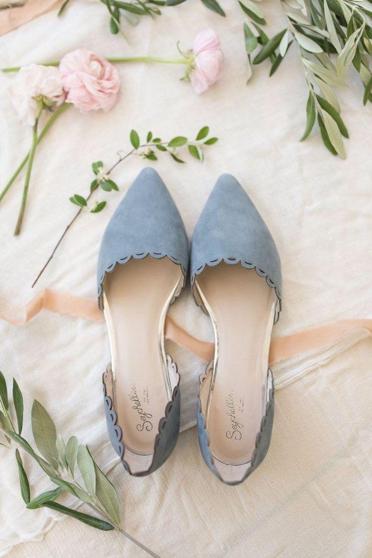 Dusty blue wedding flats