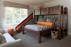 Marvelous bunk beds with slide in Kids Transitional with Wood Bed next to Twin Over Queen Bunk Bed alongside Queen Over Queen Bunk Bed and Bed Design