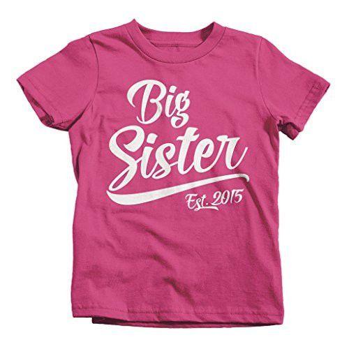 Shirts By Sarah Girl's Big Sister 2015 T-Shirt Sibling Matching Shirts