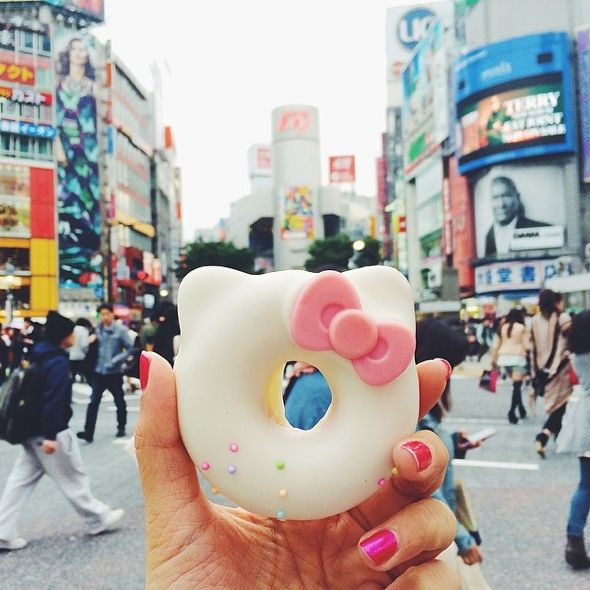 Hello Kitty Donut at the Shibuya crossing in Tokyo, #Japan