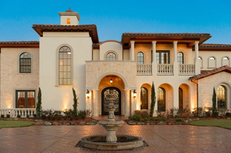 Spanish mediterranean luxury home clean arches with for Mediterranean stucco