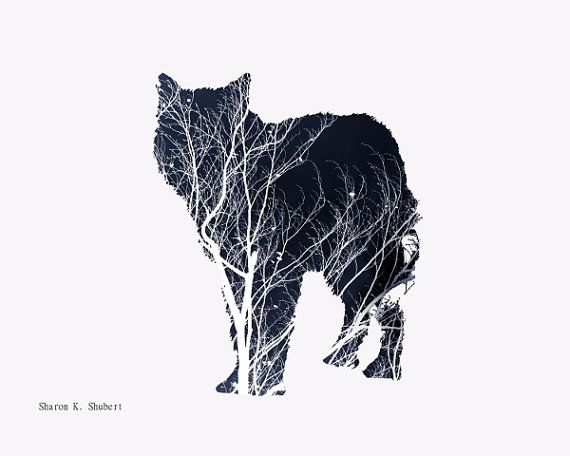 Art de Wolf Navy Blue Photomontage Animal Totem par GrayWolfGallery