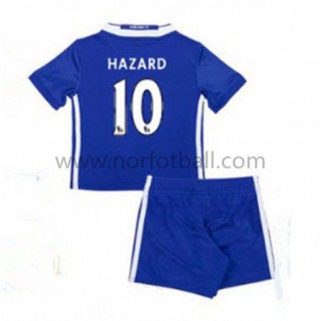 Billige Fotballdrakter Chelsea 2016-17 Hazard 10 Barn Hjemme Draktsett Kortermet