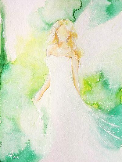 Original Engelbild auf Aqurellpapier Hoffnung  von