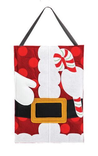 Christmas Santa Claus themeddoor hanger for your outdoor or indoor decor. Constructed with thick pieces of outdoor safe felt and lightly padded for extra dimension.Hang thisfun, fashionable ornamen