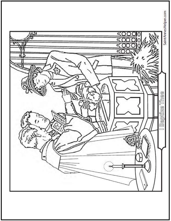 Baptism Coloring Page Priest Sacrament Godparents