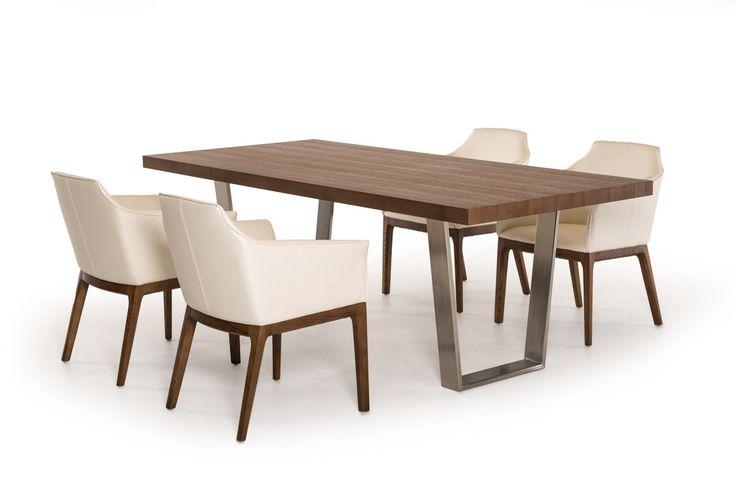 Modrest Byron Modern Walnut & Stainless Steel Dining Table