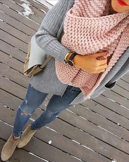 #winter #outfits / Pink Wool Scarf // Grey Cardigan // Ripped Jeans // Suede Booties