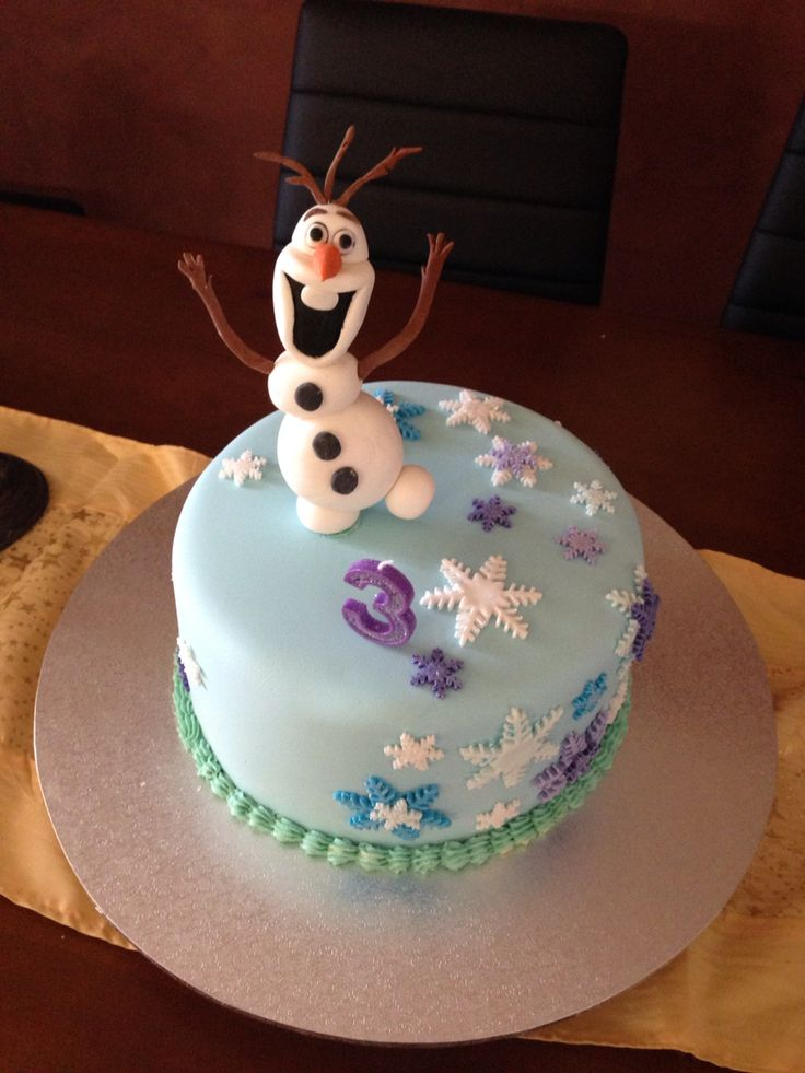 Tahlias 3rd birthday Olaf cake