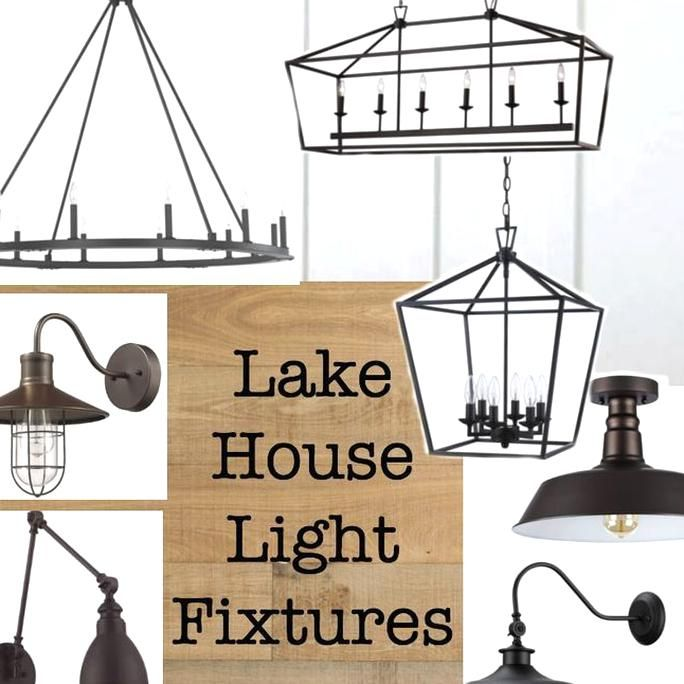 a variety of rustic lake house lighting