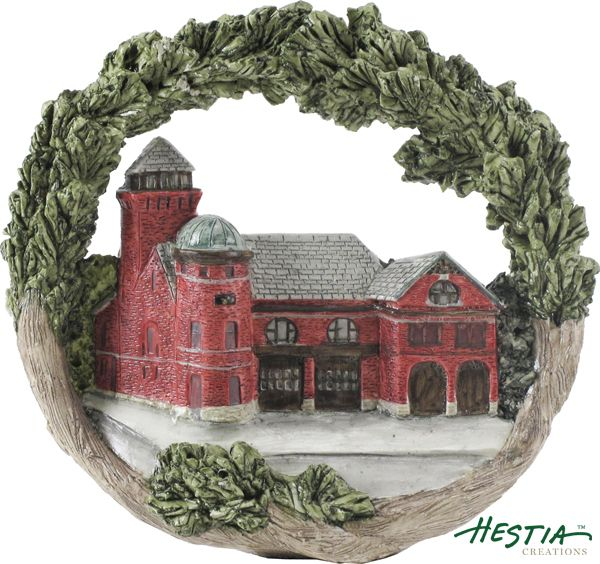 The Firehouse in Manistee, Michigan sculpted ornament by Hestia Creations. #hestiacreations #customgift #marbleheadma #manistee #firehouse