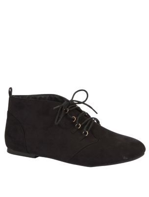 Wide Fit Black Eyelet Lace Ankle Boots - £19.99