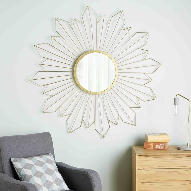 Unique Spiegel aus goldfarbenem Metalldraht D cm VEGA