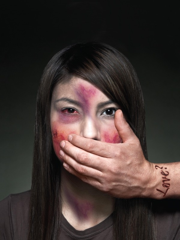 I designed a human rights poster defining Domestic Violence in the society. I transformed a healthy woman into a woman who seemed to be assaulted by a man. I studied a lot of photos of assaulted woman to get the results I had on this woman. Designed by Connie Y. Chan (Boston, MA, USA -  http://www.behance.net/gallery/Human-Rights-Poster/2694897