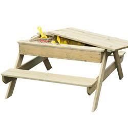 Table de pique nique bois Rosy Park avec bac à sable intégré